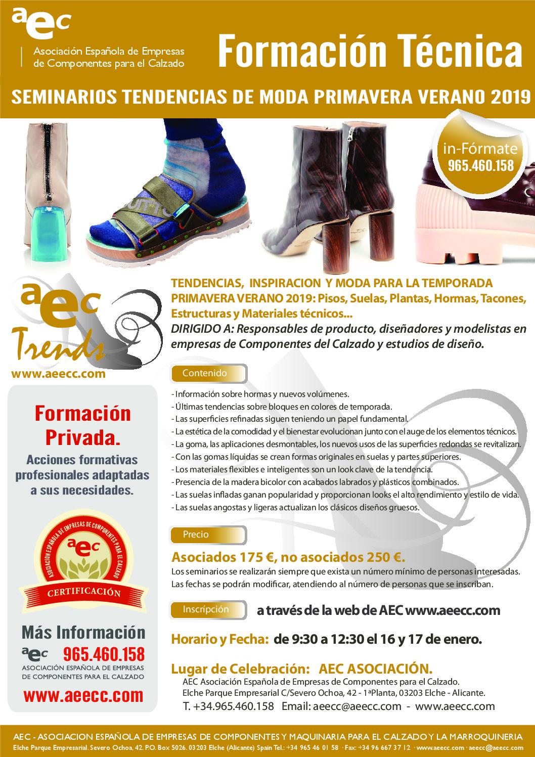 Seminario de Tendencias de Moda Primavera -Verano 2019. SUELAS, PLANTAS, HORMAS, TACONES….